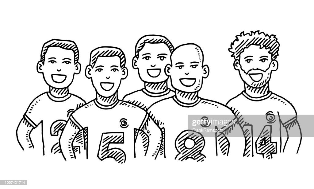 Group Of Friends Male Sport Team Drawing : Stock Illustration