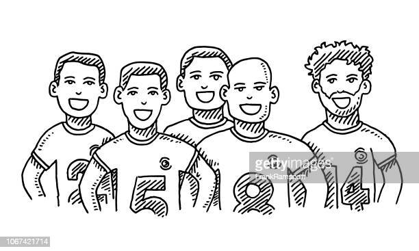 group of friends male sport team drawing - sports jersey stock illustrations