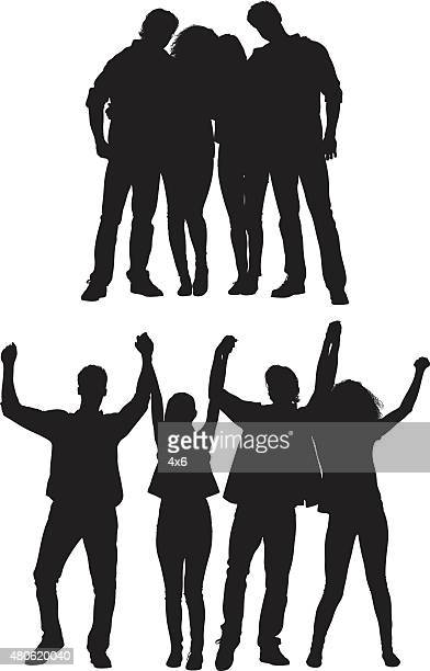 group of friends standing and cheering - boyfriend stock illustrations, clip art, cartoons, & icons