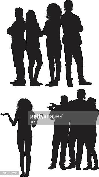 group of friends standing - back to back stock illustrations, clip art, cartoons, & icons