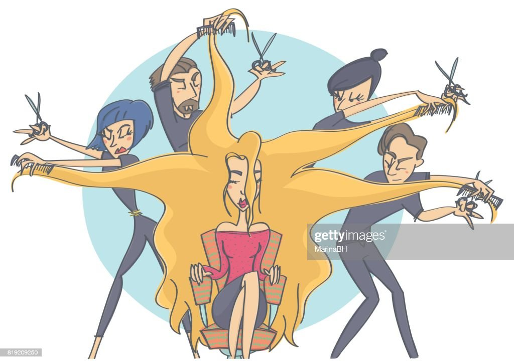 Group of hairdressers making a hairdo