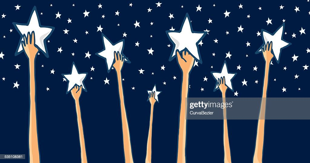 Group of hands reaching for the stars or success