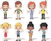 Group of happy cartoon children.