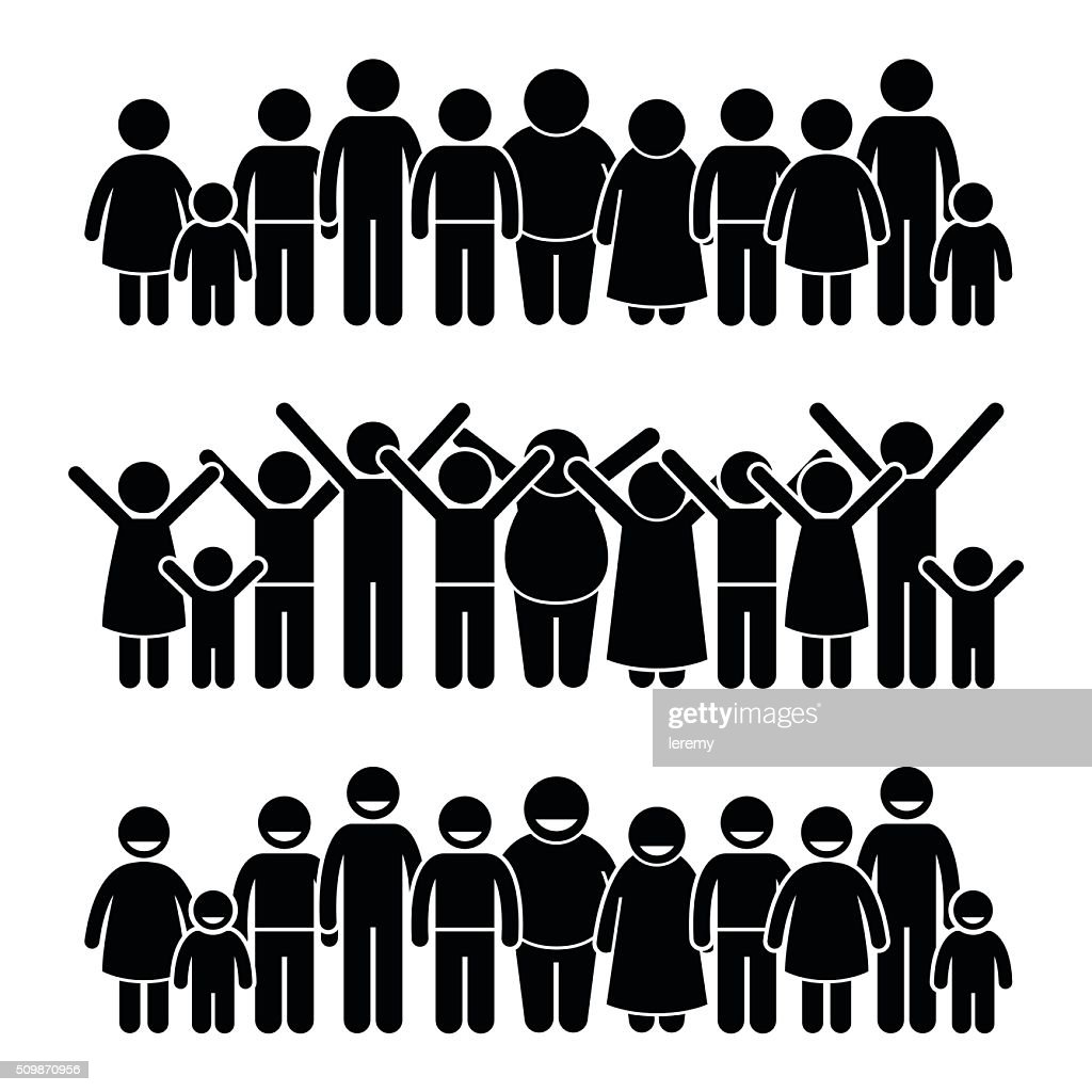 Group of Happy Children Standing Smiling and Raising Hands Illustrations