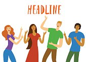 Group of  happy friends pointing on headline