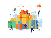 Group of happy people with pile of big gift box, online reward, vector illustration concept, can use for landing page