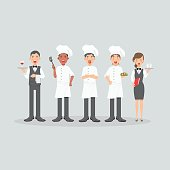 Group of head chefs, man and woman chefs, sommelier and waitress. Restaurant team concept. Flat design people characters.