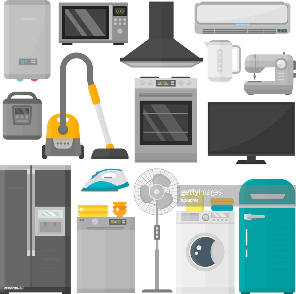 Group of home appliances vector set.