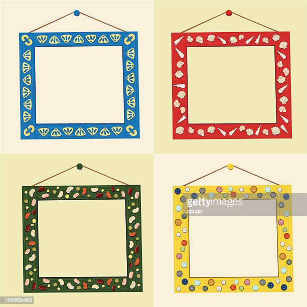 group of home-made crafty picture frames - macaroni stock illustrations, clip art, cartoons, & icons