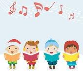 Group of kids chorus singing Christmas songs. Vector illustration