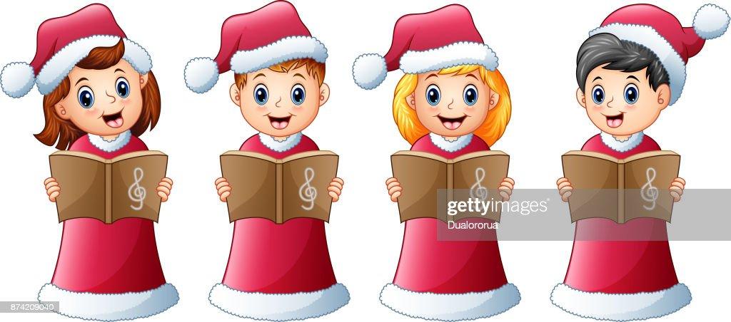Group Of Kids In Red Santa Costume Singing Christmas Carols Vector ...