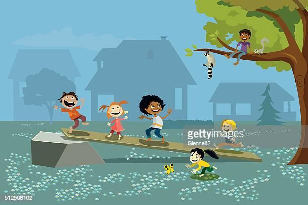 ilustraciones, imágenes clip art, dibujos animados e iconos de stock de grupo de niños jugando en el exterior - fauna silvestre