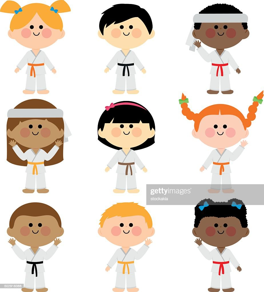 Group of kids wearing martial arts uniforms