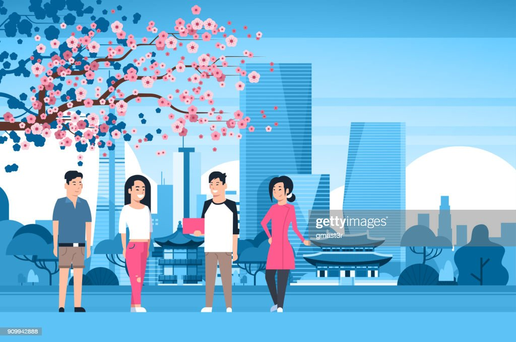 Group Of Korean People Over Seoul City Background With Skyscrapers And Landmarks Travel To South Korea Concept