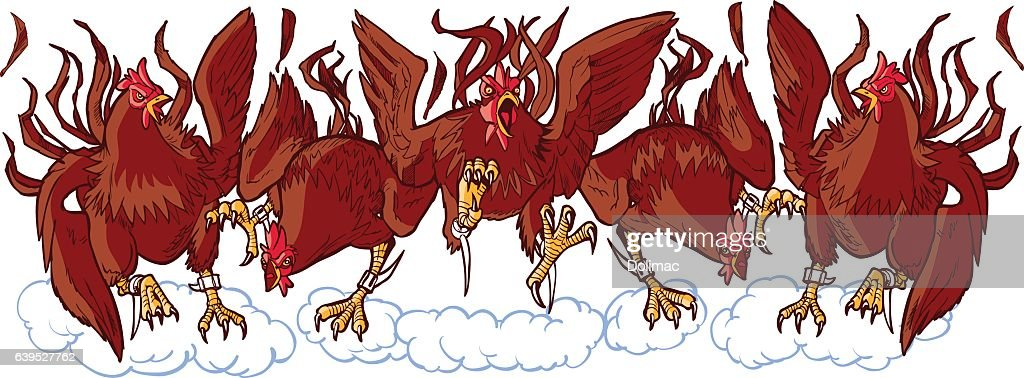 Group of Mean Rooster Cartoon Mascots Charging Forward