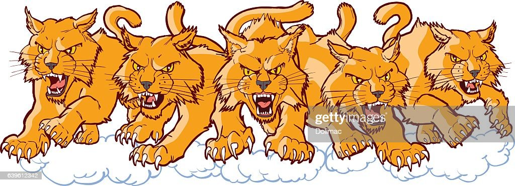 Group of Mean Wildcat Cartoon Mascots Charging Forward