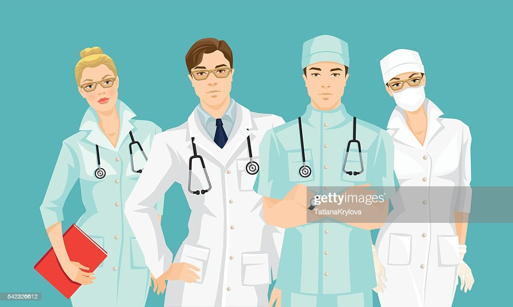 Group of medical people isolated on color