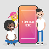 Group of millennial friends sitting and standing near by the mobile phone. Social media concept. Generation z. Flat editable vector illustration, clip art