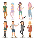 Group of modern teenagers young people lifestyle character vector illustration