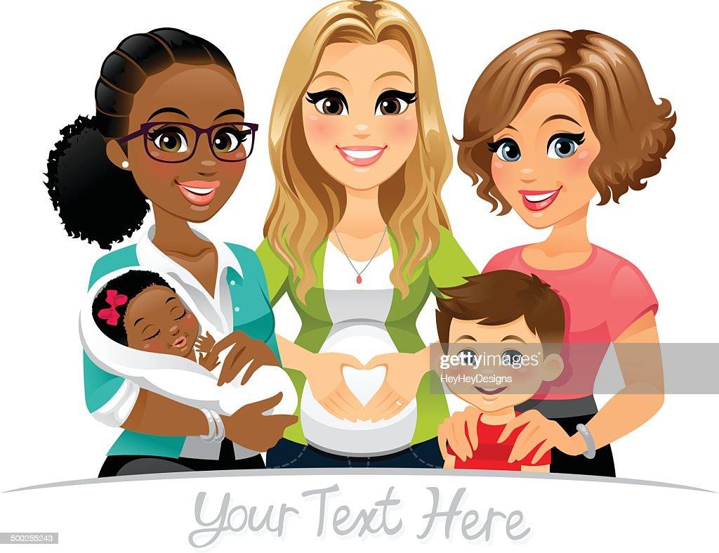 Group of Moms : Stock Illustration