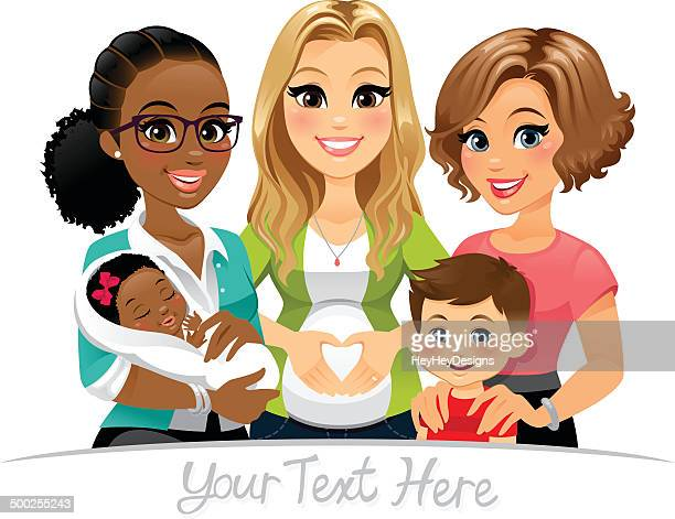 group of moms - mother stock illustrations