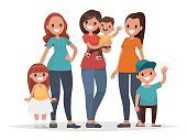 Group of mothers with their children. Mothers Day. Vector illustration