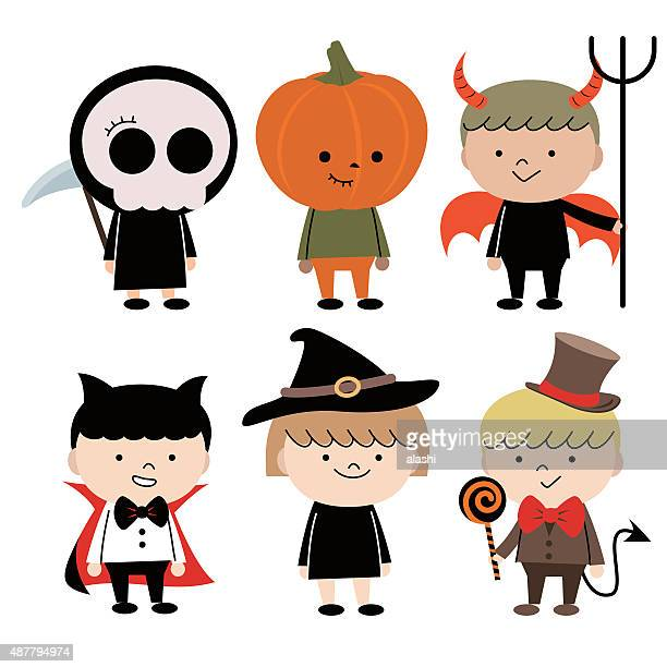 Group Of Multi Ethnic Children (6 kids) in Halloween costume