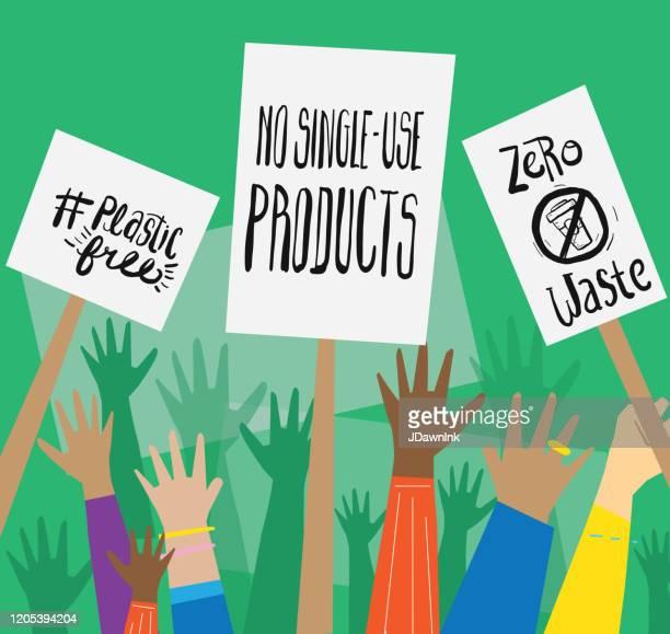 ilustrações de stock, clip art, desenhos animados e ícones de group of multicultural environmental plastic free no pollution signs protesters or activists hands in the air - direitos humanos