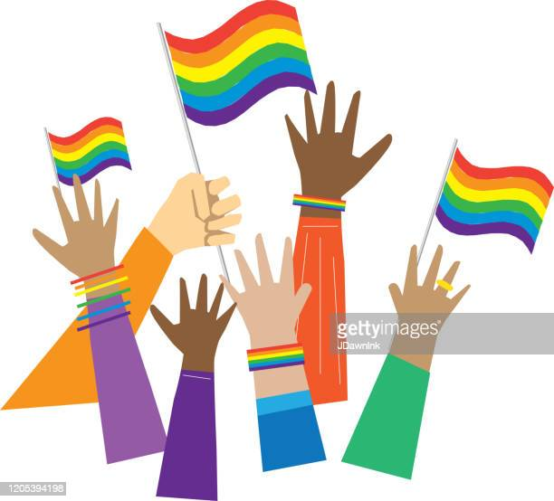 group of multicultural gay pride protesters or activists hands in the air - pride flag stock illustrations