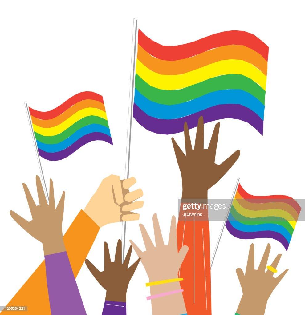 多文化ゲイプライドの抗議者や活動家のグループは、空気中の手 : ストックイラストレーション