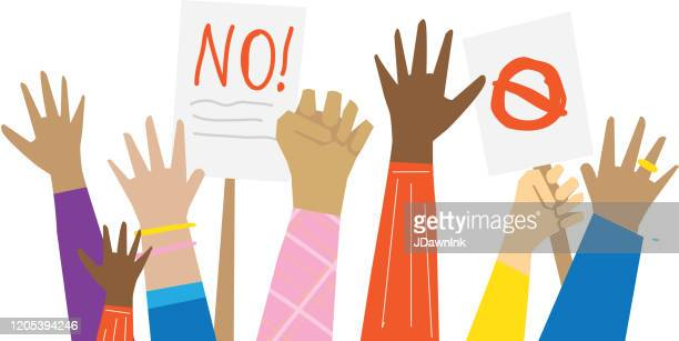 group of multicultural protesters or activists hands holding banners signs or placards - political rally stock illustrations
