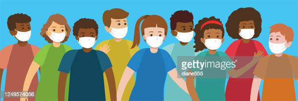 group of multi-ethnic teens wearing face masks - teenagers only stock illustrations