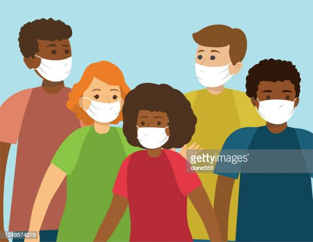 group of multi-ethnic teens wearing face masks - adolescence stock illustrations