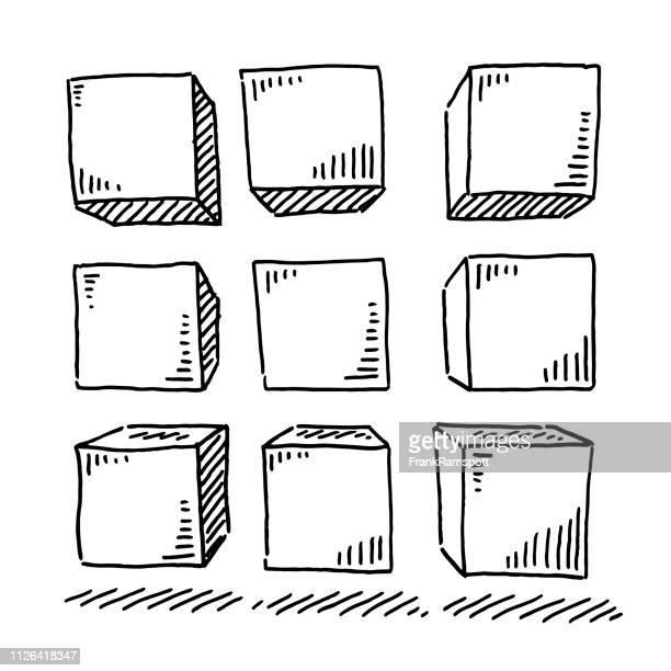 Gruppe von neun Würfel Zeichnung