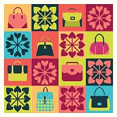 Group of Objects icons set of Fashion Bags