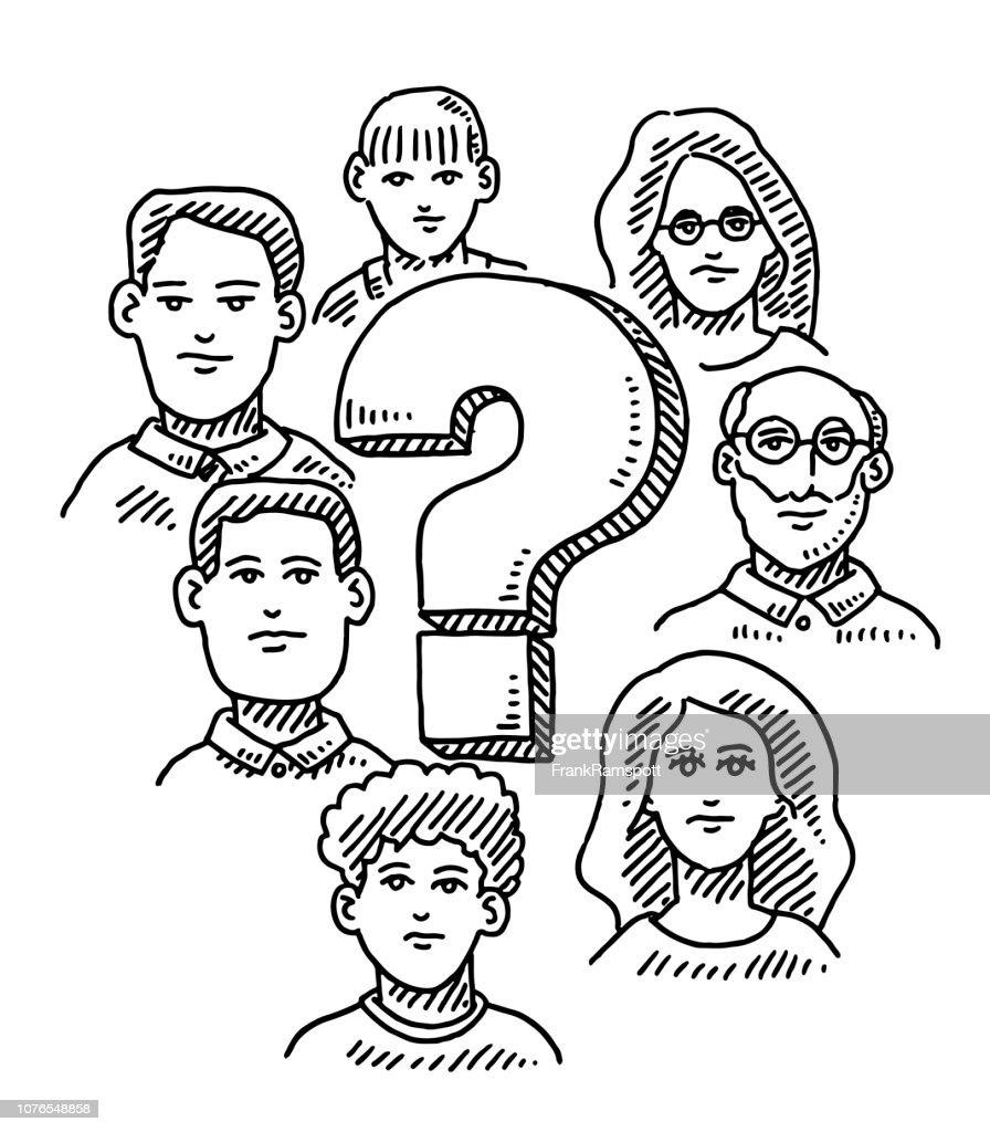 Gruppe von Menschen um Fragezeichen Zeichnung : Vektorgrafik