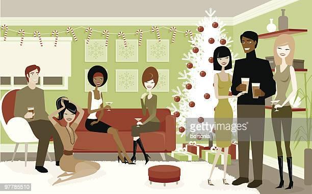 ilustrações, clipart, desenhos animados e ícones de grupo de pessoas em uma festa de natal - somente adultos