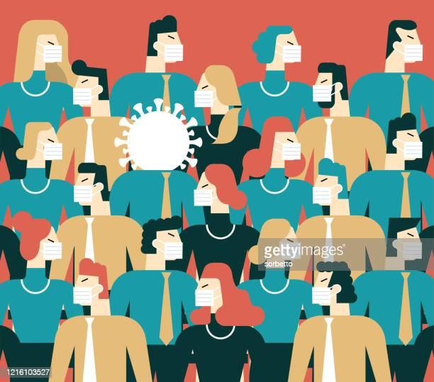 ilustrações de stock, clip art, desenhos animados e ícones de group of people - coronavirus - pandemia doença