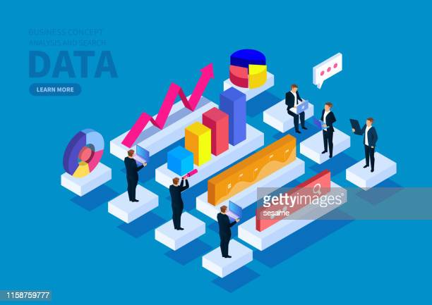 group of people data research and search - business strategy stock illustrations