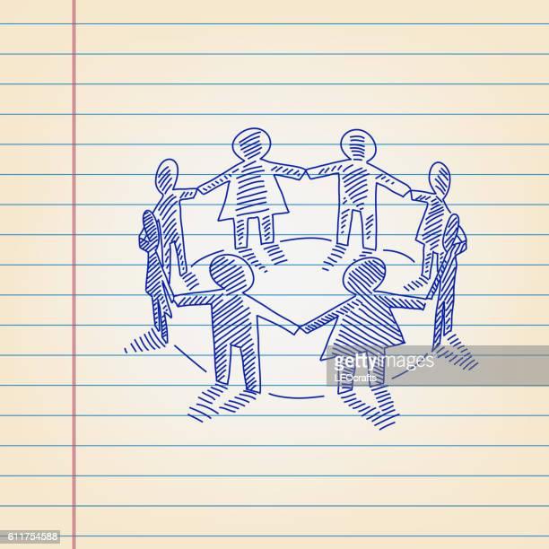 支配された紙に描く人々のグループ - 紙人形点のイラスト素材/クリップアート素材/マンガ素材/アイコン素材