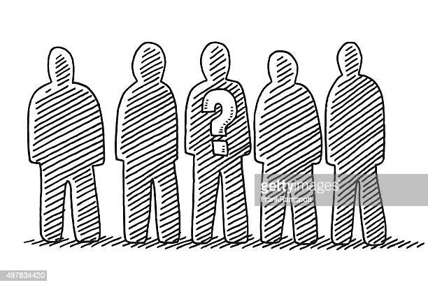 group of people drawing - five people stock illustrations