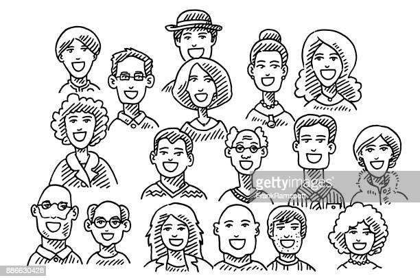group of people faces drawing - pen and ink stock illustrations