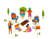 group of people, friends grilling making barbeque, cooking preparing food outdoor vector illustration isolated scene