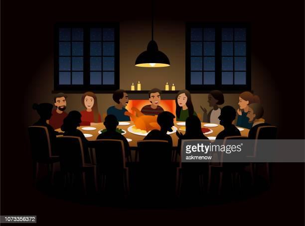 ilustraciones, imágenes clip art, dibujos animados e iconos de stock de grupo de personas cenando - mesa de comedor