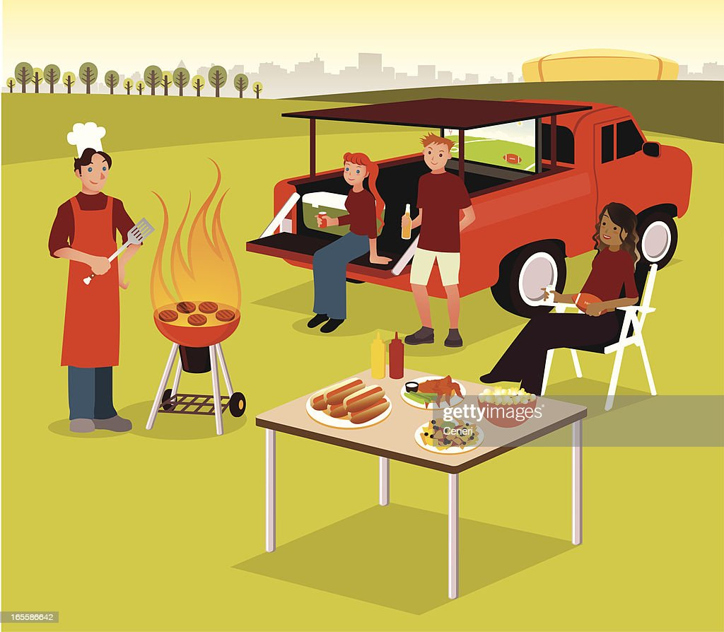 Group of People Having Tailgate BBQ Party