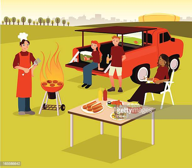 group of people having tailgate bbq party - party social event stock illustrations, clip art, cartoons, & icons