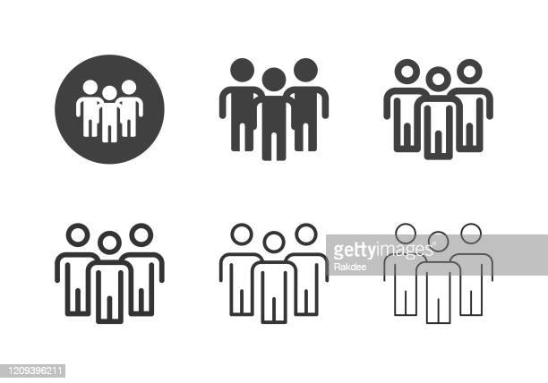 group of people icons - multi series - three people stock illustrations