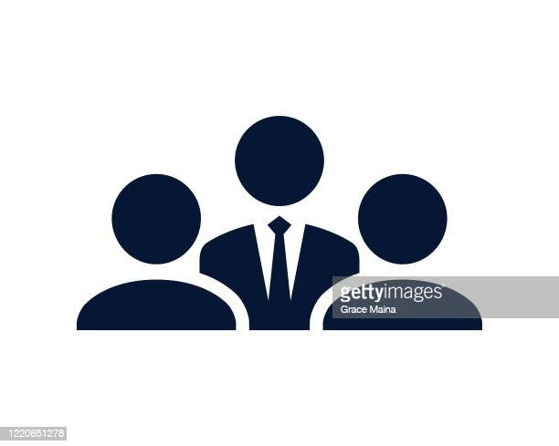 a group of people in a meeting with the boss wearing a tie - three people stock illustrations