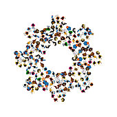 A group of people in a shape of cogwheel icon, isolated on white background. Vector illustration