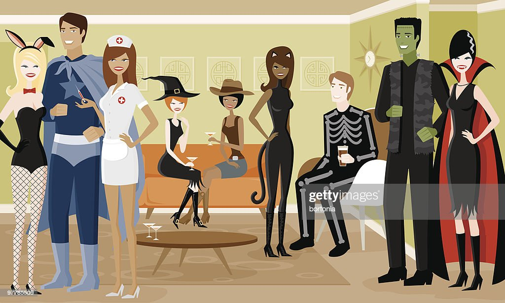 Group of People in Halloween Costumes at Party : stock illustration